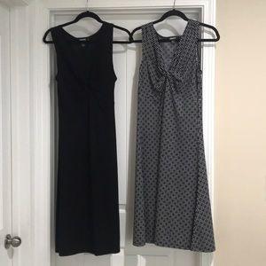 Two DKNY tank A-line dresses, blk & blk/wh design